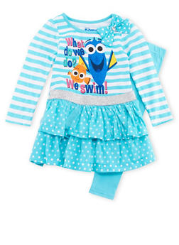 Girls 4-6x Finding Nemo Striped Fit and Flare Dress and Leggings Set - 3607009290059