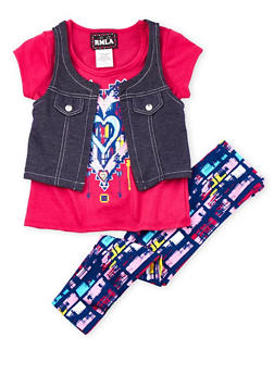 Girls 4-6x Fuchsia Graphic Heart Tee with Denim Vest and Leggings - 3607021280004