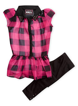 Girls 4-6x Plaid Tunic Top with Tank Top and Leggings Set - 3607021280008