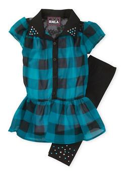 Girls 4-6x Semi-Sheer Dress with Studded Jersey Leggings - 3607021280009