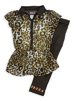 Girls 4-6x Short Sleeve Animal Print Top with Leggings Set - 3607021280019