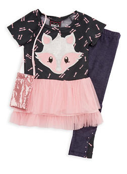 Girls 4-6x Fox Top with Denim Knit Leggings and Purse Set - 3607021280020