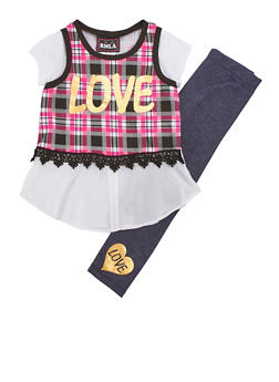 Girls 4-6x Love Plaid Top with Denim Knit Leggings Set - 3607021280023