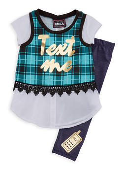 Girls 4-6x Text Me Graphic Top and Denim Knit Leggings Set - 3607021280025
