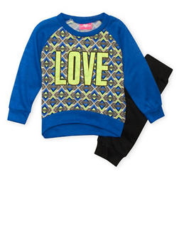 Girls 4-6x Printed Raglan Top and Joggers Set with Love Graphic - 3607048370004