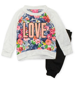 Girls 4-6x Printed Top and Joggers Set with Love Graphic - 3607048370005