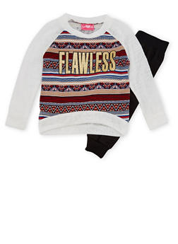 Girls 4-6x Printed Raglan Top and Joggers Set with Flawless Graphic - 3607048370006