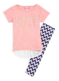 Girls 4-6x Studded Love Graphic Top with Printed Leggings - 3607048370008