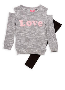 Girls 4-6x Cold Shoulder Fuzzy Love Graphic Knit Top and Leggings Set - 3607048370010