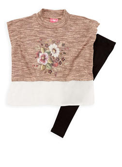 Girls 4-6x Sleeveless Floral Print Knit Top and Leggings Set - 3607048370013