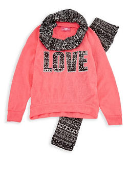 Girls 4-6x Love Sweatshirt with Printed Leggings and Scarf - 3607048370017
