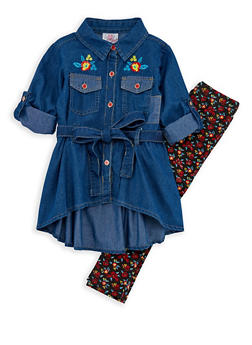 Girls 4-6x Denim Tunic Top and Printed Leggings Set - 3607054730002
