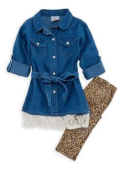 Girls 4-6X Denim Button Front Shirt with Leopard Print Leggings - 3607054730006
