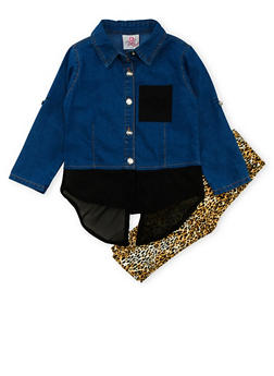 Girls 4-6x Denim and Chiffon Button Front Top with Leopard Print Leggings Set - 3607054730015