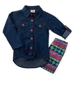 Girls 4-6x Denim Shirt and Printed Leggings Set - 3607054730016