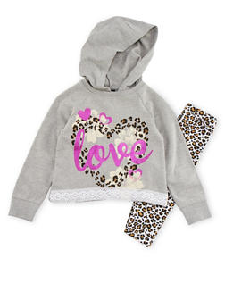 Girls 4-6x High Low Hoodie and Leggings with Love Print - 3607054730018