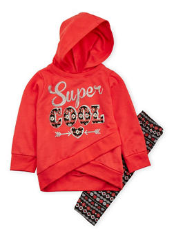 Girls 4-6x Graphic Hoodie with Printed Leggings Set - 3607054730019