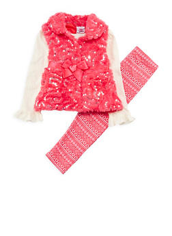 Girls 4-6x Apple Bottom Sequins Faux Fur Vest with Top and Leggings - 3607054730020