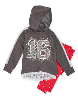 Girls 4-6x Star Graphic Hoodie and Leggings Set - 3607054730021