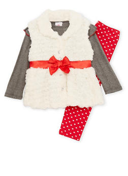 Girls 4-6x Faux Fur Vest with Top and Leggings Set - 3607054730023