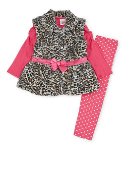 Girls 4-6x Top with Faux Fur Vest and Leggings Set - 3607054730026