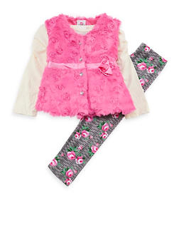 Girls 4-6x Faux Fur Rose Vest with Top and Leggings - 3607054730029
