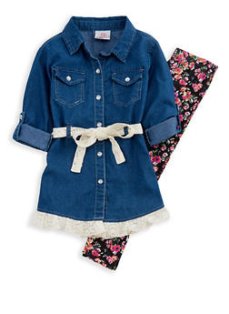 Girls 4-6x Denim Lace Top with Floral Leggings - 3607054730031