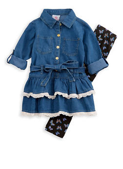Girls 4-6x Denim Lace Tiered Top with Butterfly Leggings - 3607054730032