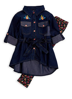 Girls 4-6x Denim Button Front Top with Leggings - 3607054730033