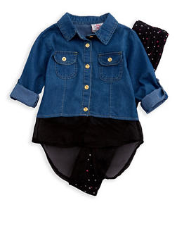 Girls 4-6x Denim Top with Printed Leggings Set - 3607054730034