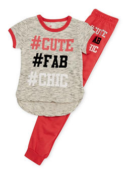 Girls 4-6x Limited Too Graphic Hashtag T Shirt and Jogger Set - 3607060990010