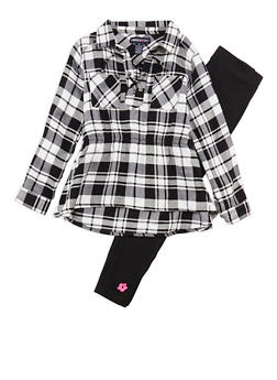 Girls 4-6x Limited Too Plaid Lace Up Top with Leggings Set - 3607060990013