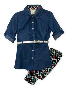 Girls 4-6x Chambray Ruffle Tunic Top with Aztec Print Leggings and Belt - 3607061950020