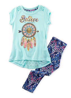 Girls 4-6x Graphic T-Shirt and Printed Leggings Set - 3607061950041