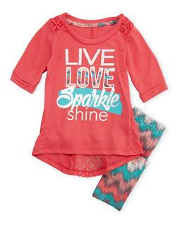Girls 4-6x Graphic T-Shirt and Printed Leggings Set - 3607061950042
