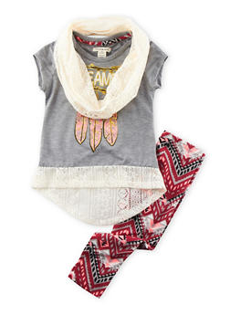 Girls 4-6x High-Low Top with Printed Leggings and Scarf Set - 3607061950044