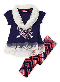 Girls 4-6X Love Always Graphic Lace Hem Top and Leggings Set with Infinity Scarf - 3607061950045