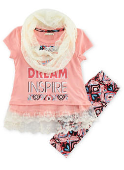 Girls 4-6x Tunic Top with Leggings and Infinity Scarf Set - 3607061950046