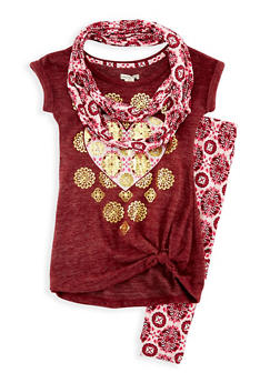 Girls 4-6x Graphic Top with Printed Leggings and Scarf Set - 3607061950051