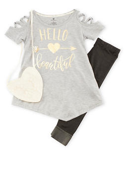 Girls 4-6x Graphic Top with Denim Knit Leggings and Purse Set - 3607061950059