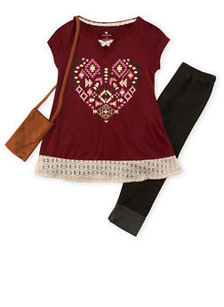Girls 4-6x Graphic Top with Denim Knit Leggings and Purse - 3607061950060