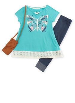 Girls 4-6x Graphic Top with Denim Knit Leggings and Purse - 3607061950061