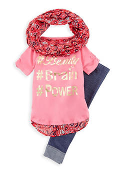 Girls 4-6x Graphic Top with Leggings and Scarf Set - 3607061950062