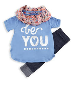 Girls 4-6x 3 Piece Graphic Top with Leggings and Scarf Set - 3607061950063