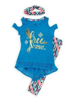 Girls 4-6x 3 Piece Graphic Cold Shoulder Top with Printed Leggings and Headband Set - 3607061950064