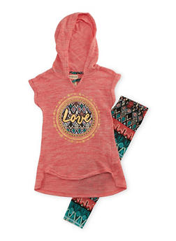 Girls 4-6x Hooded Graphic Top with Printed Leggings Set - 3607061950068
