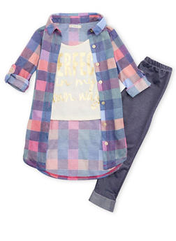 Girls 4-6x Layered Graphic Plaid Top with Leggings - 3607061950069