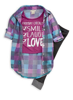 Girls 4-6x Plaid High Low Graphic Top with Leggings - 3607061950070