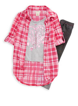 Girls 4-6x Plaid Foil Graphic Shirt and Knit Denim Leggings Set - 3607061950071