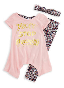 Girls 4-6x Never Stop Dreaming Graphic Top and Printed Leggings - 3607061950073